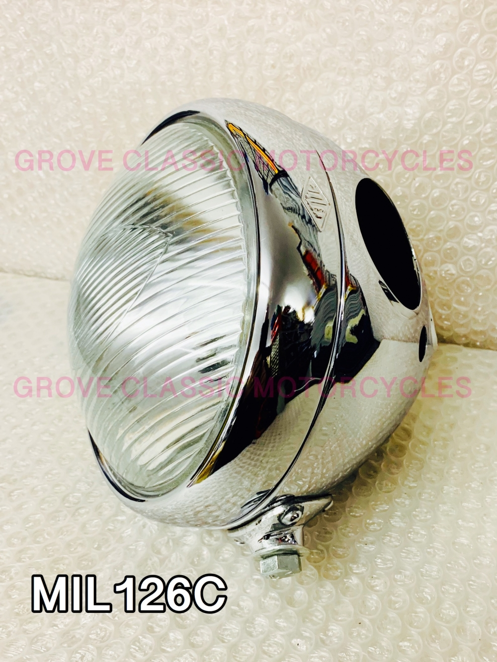 mil 6.1/2 headlamp shell rim, clip & light unit chrome finish  ( miller type )